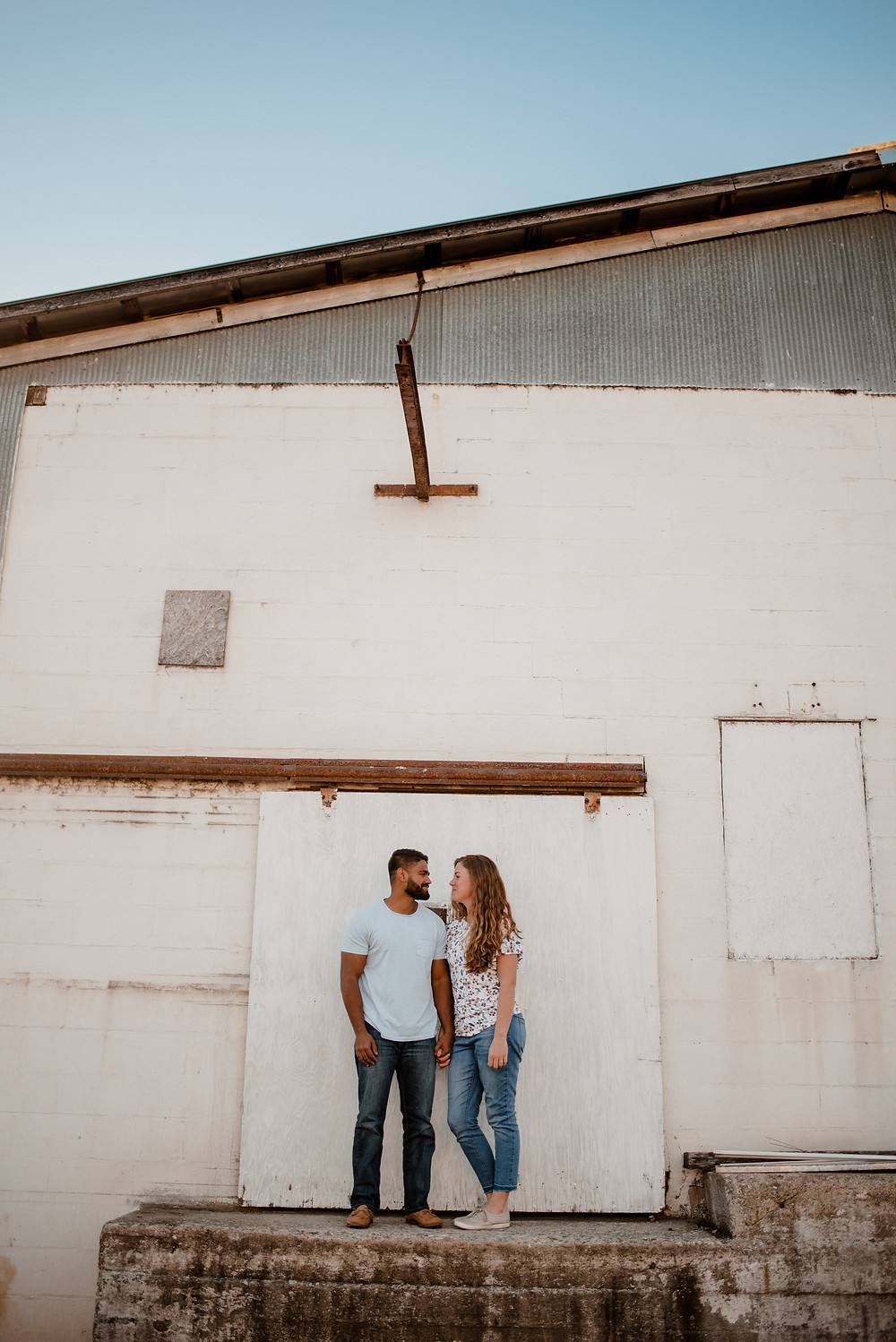 rustic industrial romantic engagement photo PA