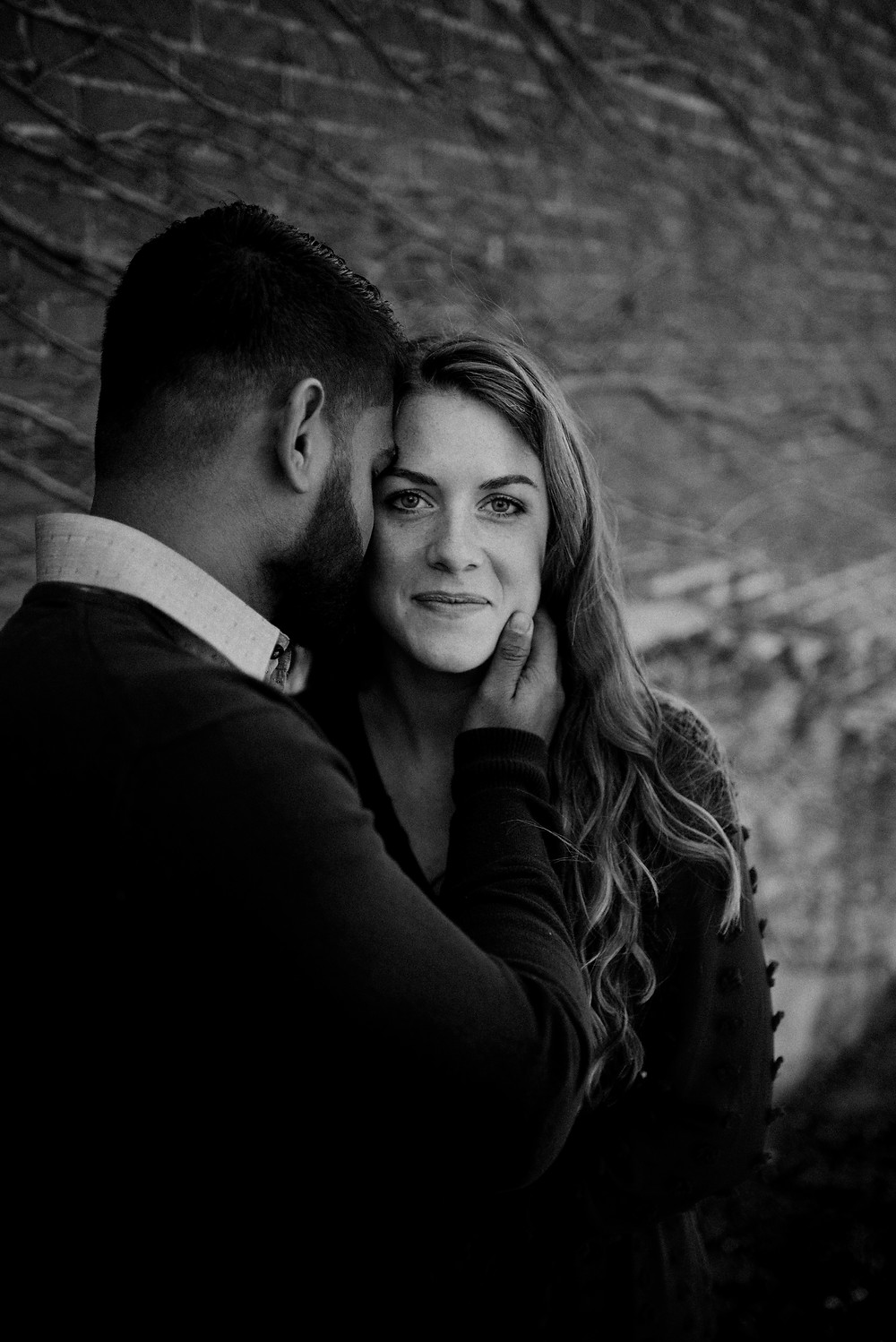 black and white romantic engagement photo Pennsylvania