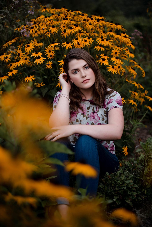 rustic senior session, senior portrait, photographer, floral