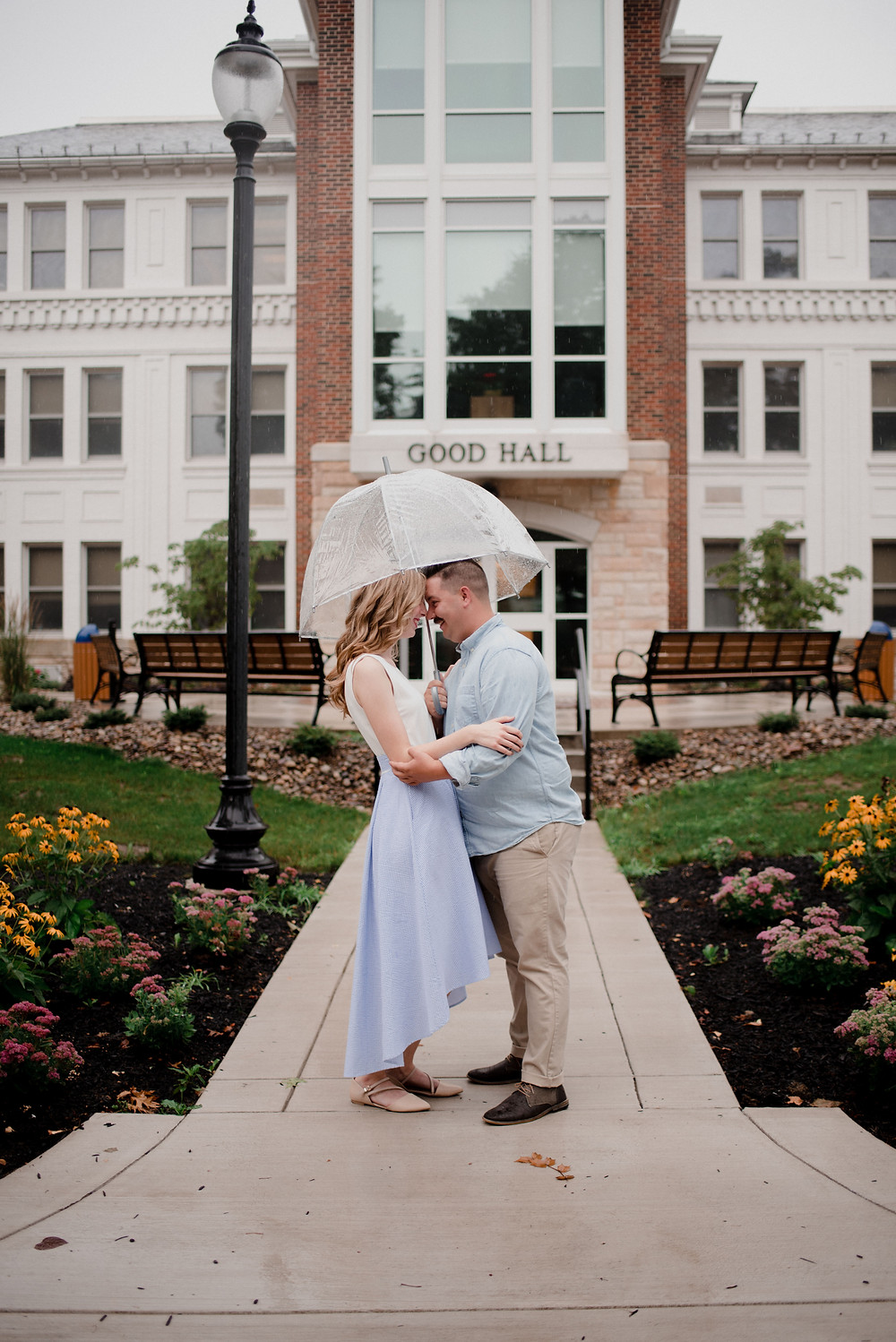rainy day engagement juniata college