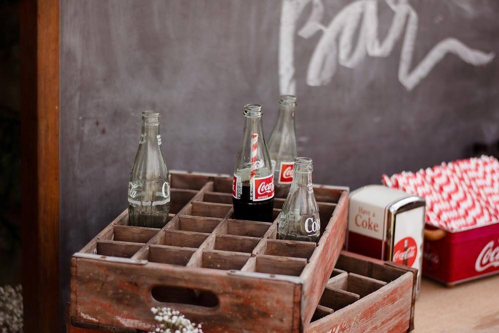 wedding decor, vintage coke, vintage decor, lilac and lace