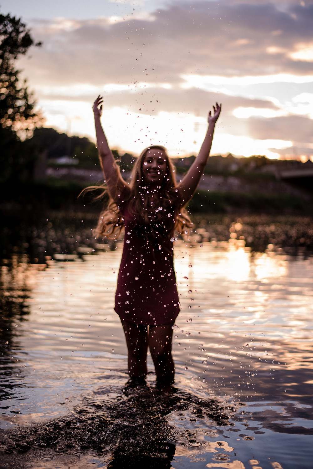 outdoor, river, sunset, Central PA senior photographer