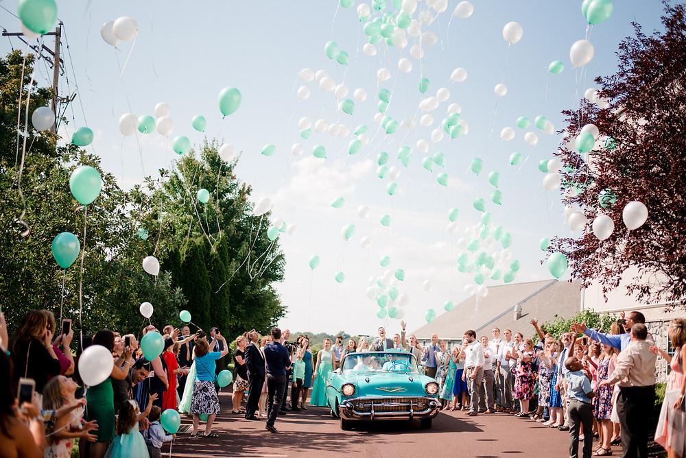 wedding exit, balloon exit