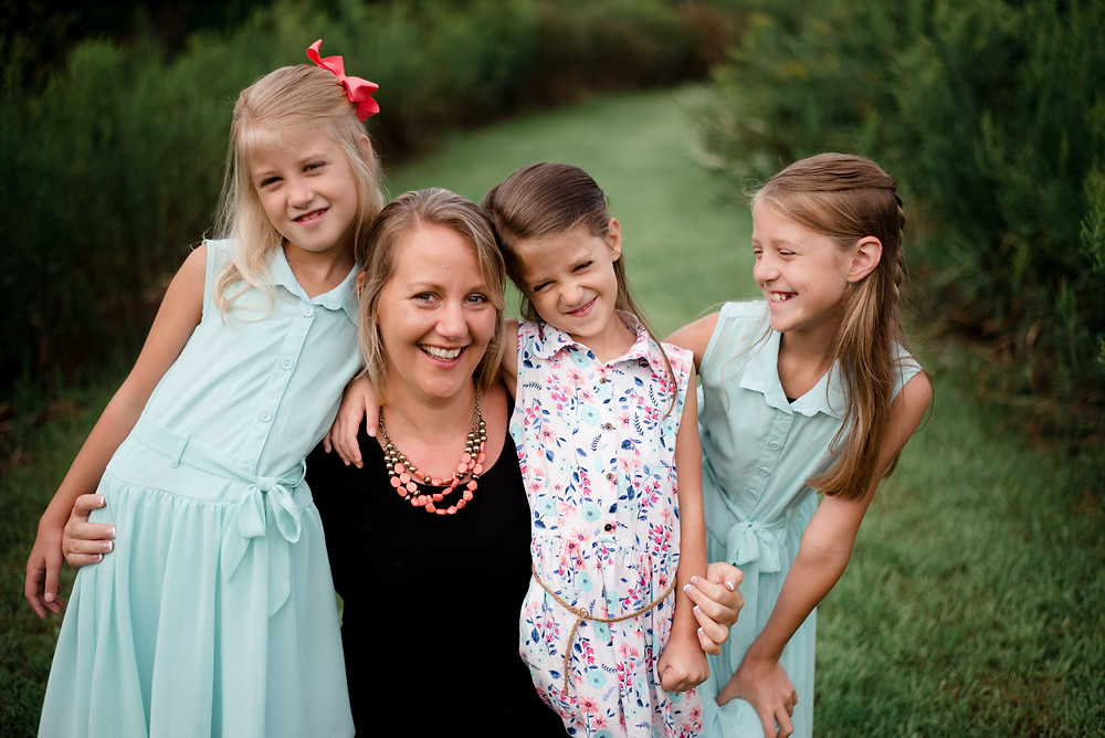 casual mother and daughters, family candid, Pennsylvania family photographer