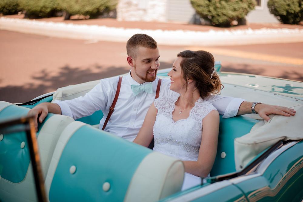 wedding exit, balloon exit, vintage car