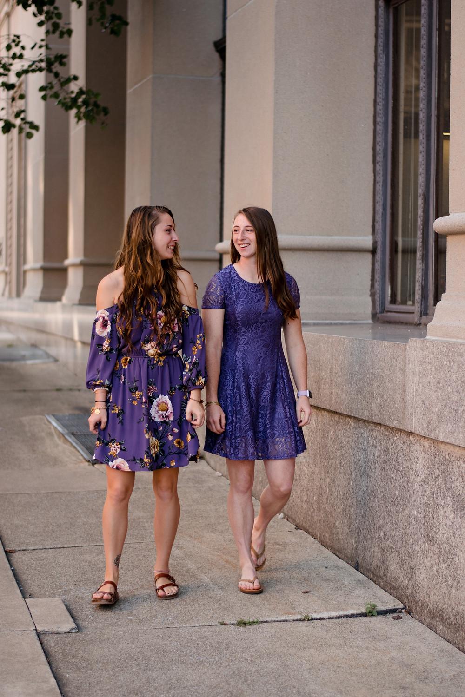 sister photoshoot, lavender dresses