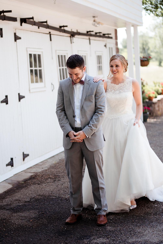 First look, emotional, wedding photographer