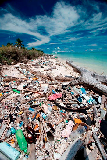 polluted beach in Indoneia