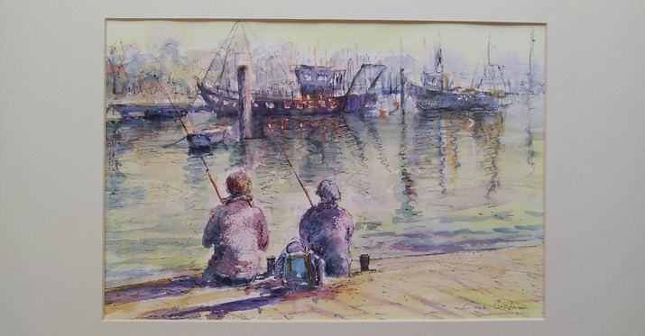 Fishing at Lymington. Framed Ink & Watercolour. 52 x 41