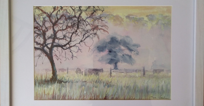 Misty Cows. Framed Watercolour. 42 x32