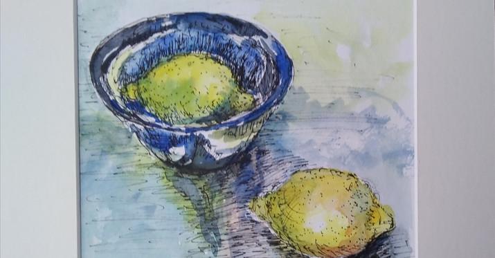 Blue Bowl & Lemons. Mounted Ink & Watercolour. 29 x 29