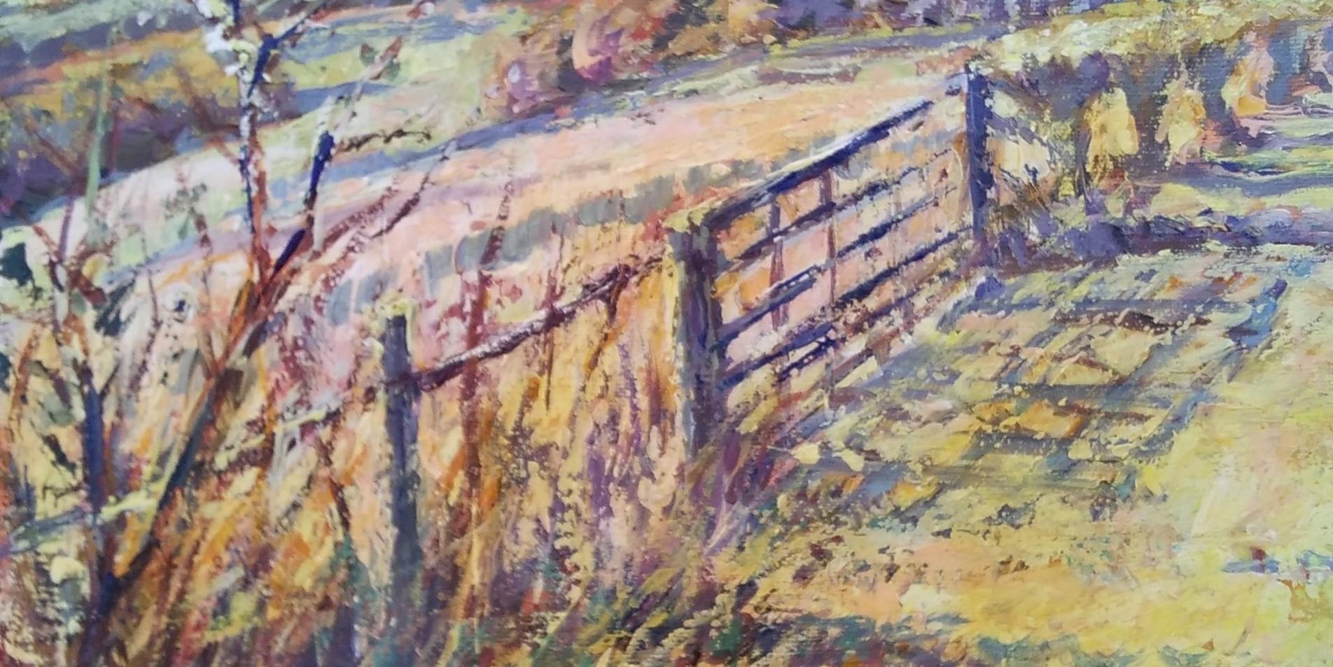 Sunlit Gate South Downs.
