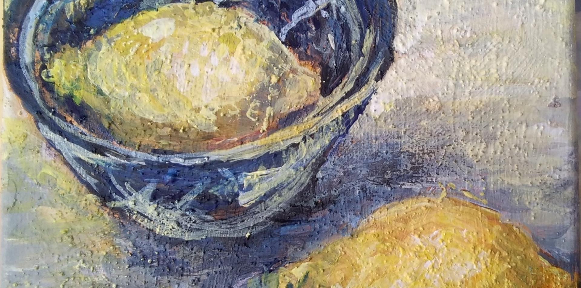 Lemons And Blue Bowl.