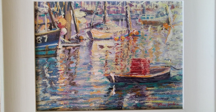 Bringing In The Catch.Framed Acrylic. 42 x 34