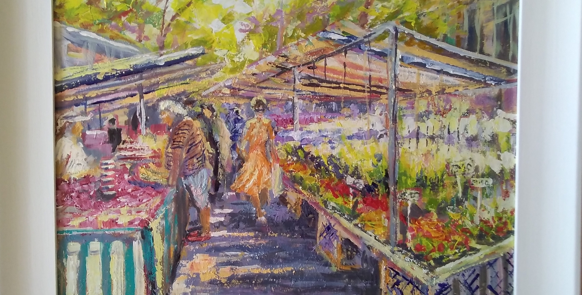 French Flower Market. Framed Acrylic on Wood. 62 x 52