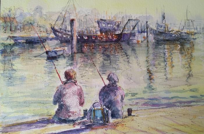 Fishing at Lymington.Framed Ink & Watercolour. 52 x 41