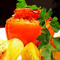Baked Tomatoes filled with rice and potatoes