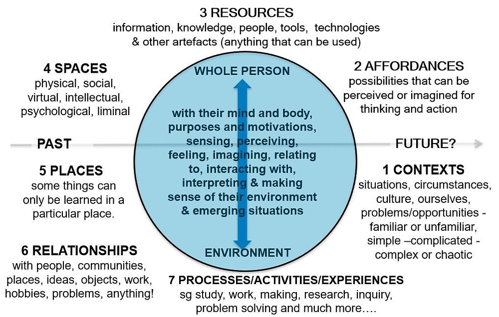 Figure 1) A mapping tool created by Learning Ecologies for developing deeper understandings of practice, learning, and performance-ecologies