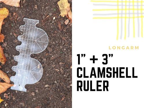 """1"""" + 3"""" Clamshell ruler"""