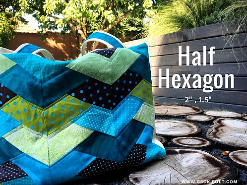 "HALF HEXAGON  2"" + 1/4"" seam allowance"