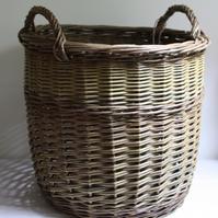 Log Basket with Rope Handles