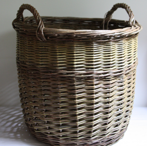 Log Basket with Rope Handles