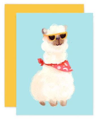 Hipster Alpaca Greeting Card