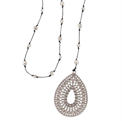 Woven Teardrop Pendant Necklace