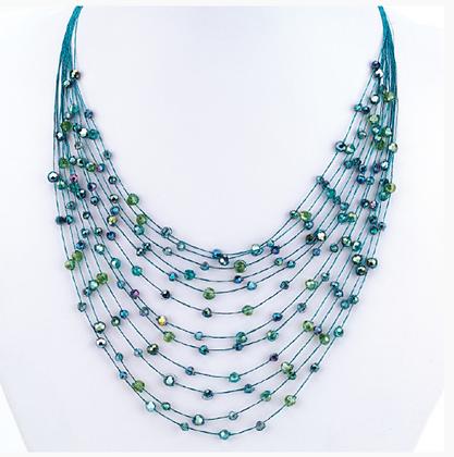 12 Strand Necklace on Silk