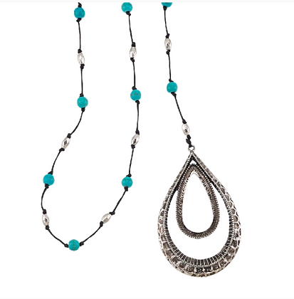 Teardrop Turquoise Pendant Necklace