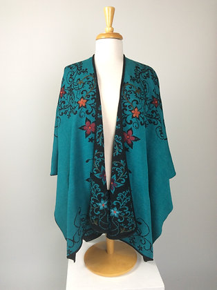 Teal/Black Embroidered Reversible Ruana
