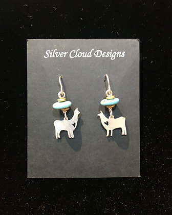 Alpaca Earring with Turquoise Beading
