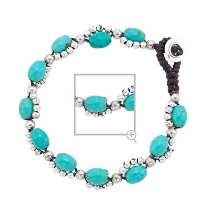 Silver & Turquoise Bead Bracelet