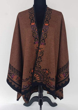 Brown/Black Embroidered Reversible Ruana