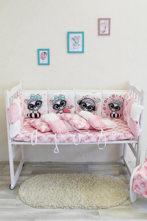 """Набор в кроватку """"Зефир. Розовые енотики"""""""