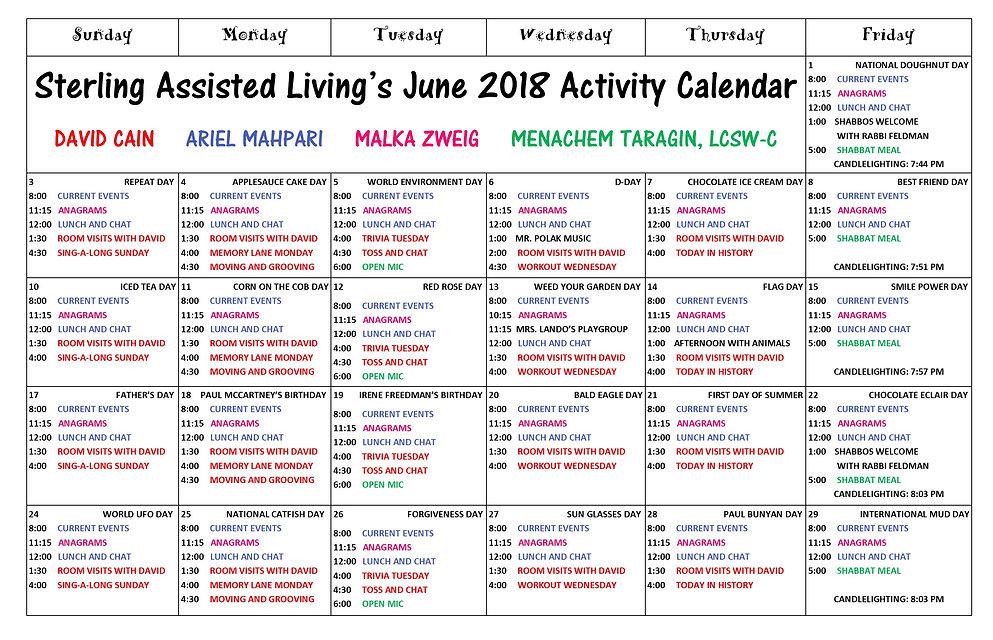 Sterling Kosher Assisted Living Calendar