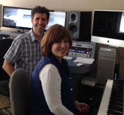 Lisa with Dave Vergauwen in studio