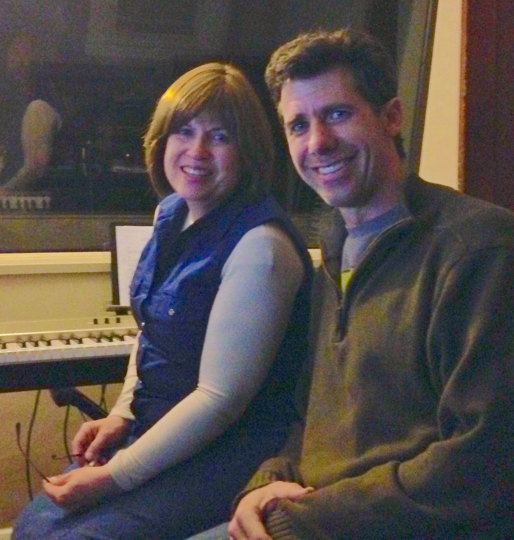 Lisa with Dave in his studio