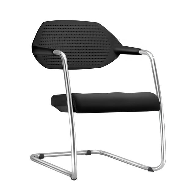 Cadeira Flex assento estofado e encosto preto