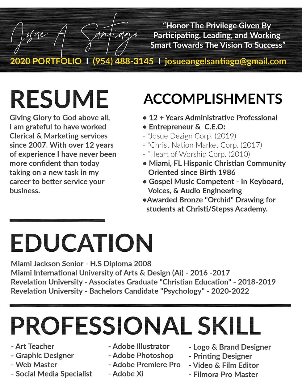 Josue A. Santiago Resume 2020 Pg 1.png