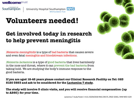 Volunteers needed for meningitis research at UHS