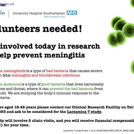 Volunteers needed- Help with meningitis research
