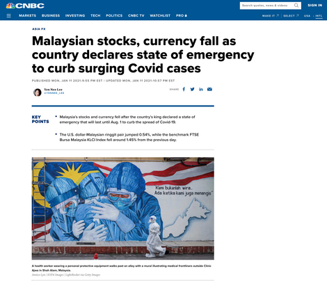 Malaysian Stocks, Currency Fall as Country Declares State of Emergency to Curb Surging Covid Cases