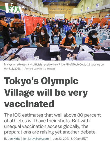 Tokyo's Olympic Village will be very vaccinated