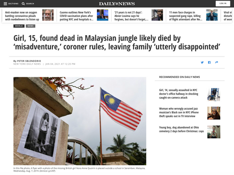 Girl, 15, found dead in Malaysian jungle likely died by 'misadventure,' coroner rules, leaving family 'utterly disappointed'