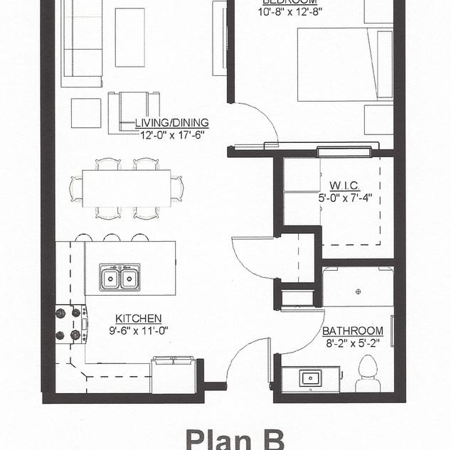 1BR, 1BA Plan B
