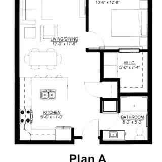 1BR, 1BA Plan A