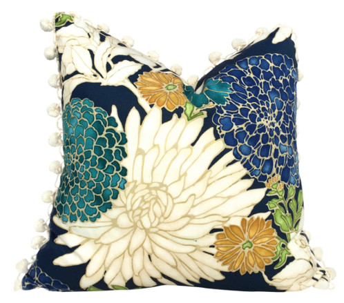 Asian Floral Pillow Cover With Cream Pom Pom Trim Impressive Asian Pillow Covers