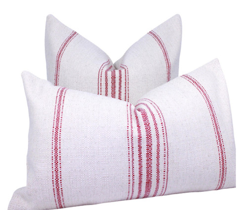 Cotton Off White Pillow Cover Red Primitive Stripes Simple Primitive Pillow Covers