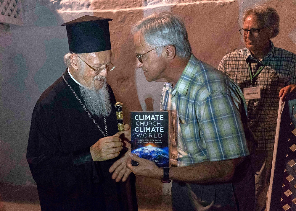His All Holiness Ecumenical Patriarch Bartholomew receives Antal's book, Climate Church, Climate World